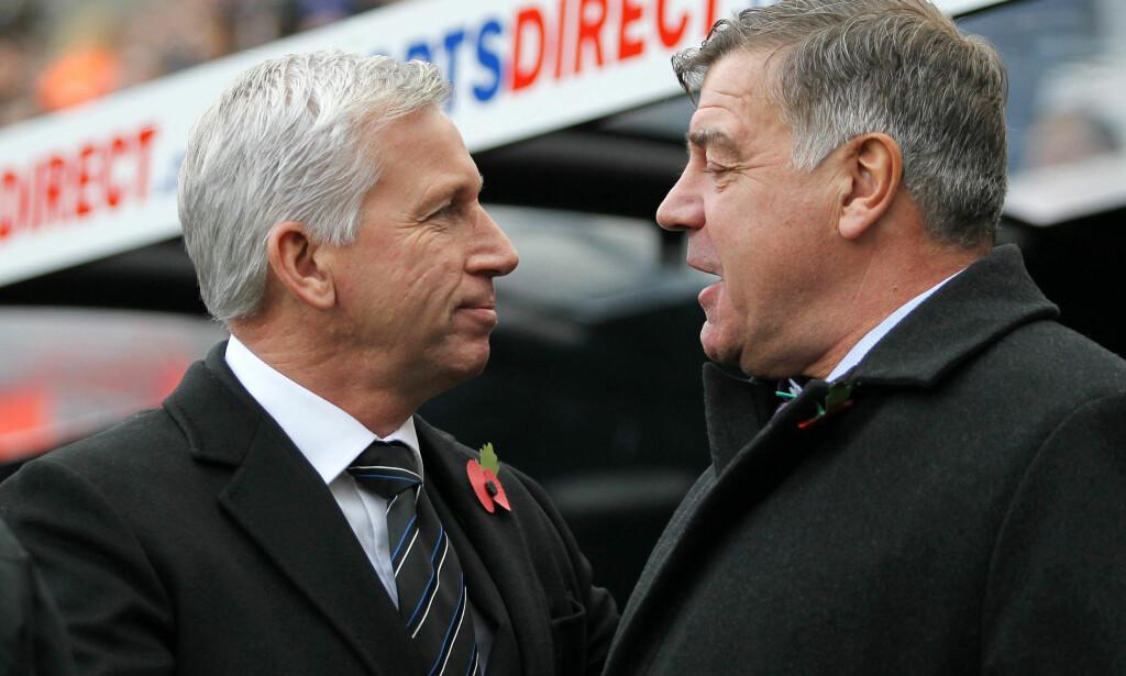 FØR OG ETTER: Britiske medier skriver i dag at Sam Allardyce (t.h.) kommer til å ta over Crystal Palace-jobben etter Alan Pardew. Foto: NTB Scanpix