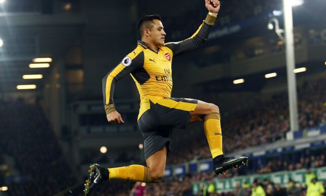 Editorial use only. No merchandising. For Football images FA and Premier League restrictions apply inc. no internet/mobile usage without FAPL license - for details contact Football Dataco Mandatory Credit: Photo by Matt West/BPI/REX/Shutterstock (7555856r) Alexis Sanchez of Arsenal celebrates scoring the opening goal during the Premier League match between Everton and Arsenal played at Goodison Park, Liverpool on 13th December 2016 Football - Premier League 2016/17 Everton v Arsenal Goodison Park, Goodison Rd, Liverpool, United Kingdom - 13 Dec 2016