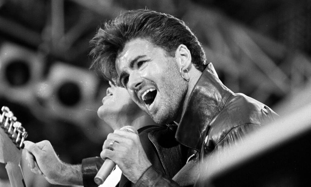 SISTE KVELD MED WHAM: George Michael spiller for et fullsatt Wembley under Whams! siste konsert innen duoen ble oppløst i 1986.