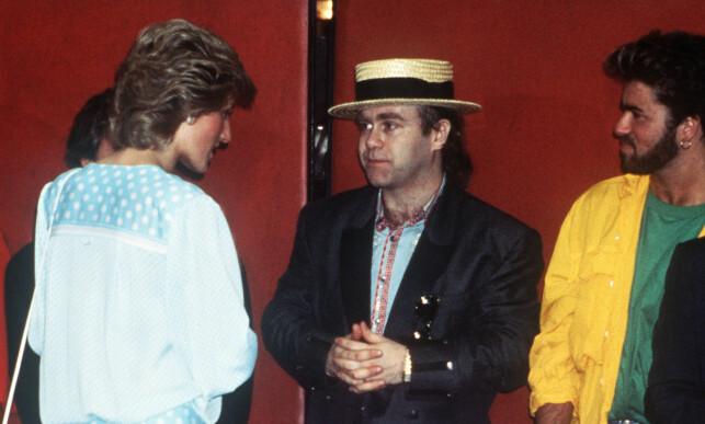 PRINSESSEN OG MICHAEL: I 1985 støttet både prinsesse Diana, Elton John og George Michael opp da musikere ville samle inn bistandsmidler til Afrika. Foto: AP Photo