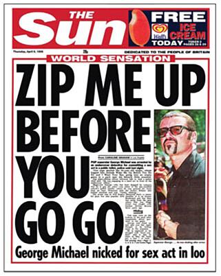 NÅDELØS: Den britiske avisa The Sun hadde denne forsida da det ble kjent at George Michael var blitt pågrepet. / Faksimile