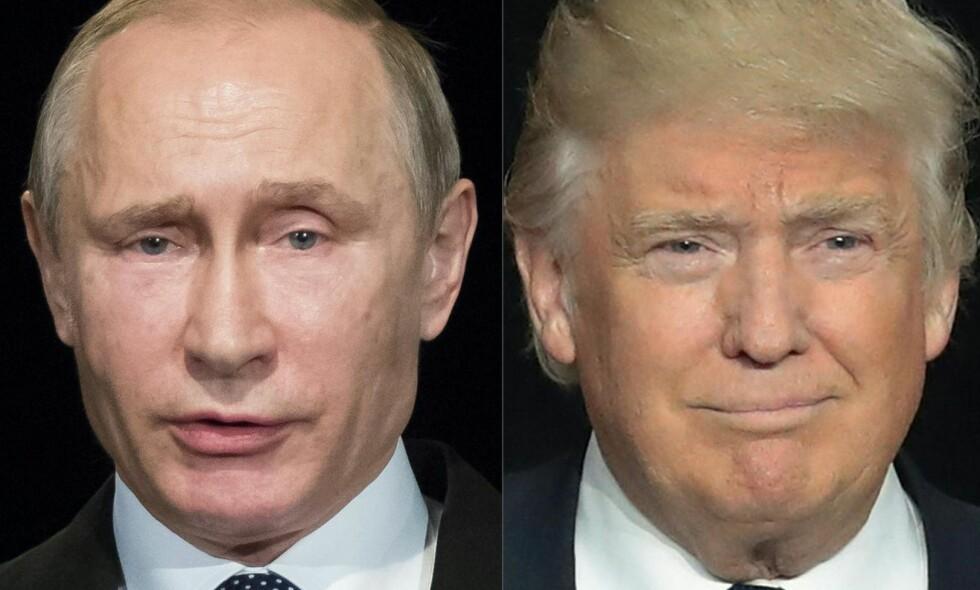 PROVOSERT: Donald Trump, til høyre. Paradoksalt nok reagerer Vladimir Putin mer nøkternt. Bildemontasje: NTB Scanpix