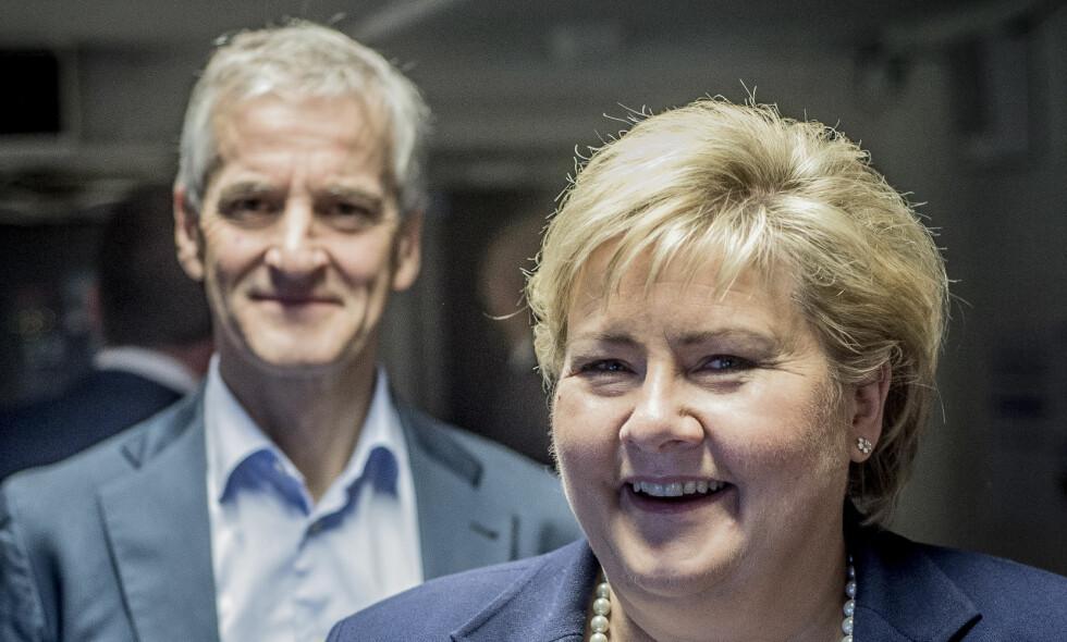 DUELLEN: Jonas Gahr Støre og Erna Solberg skal bruke mesteparten av 2017 på å kjempe mot hverandre. Foto: Thomas Rasmus Skaug / Dagbladet