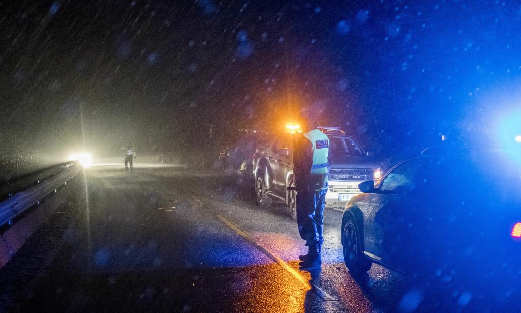 Et grantre stoppet nesten opp trafikken mellom Farsund og Lyngdal på riksvei 43 etter at det blåste over veien. Politiet dirigerer trafikken mens veien ryddes. Foto: Tor Erik Schrøder / NTB scanpix