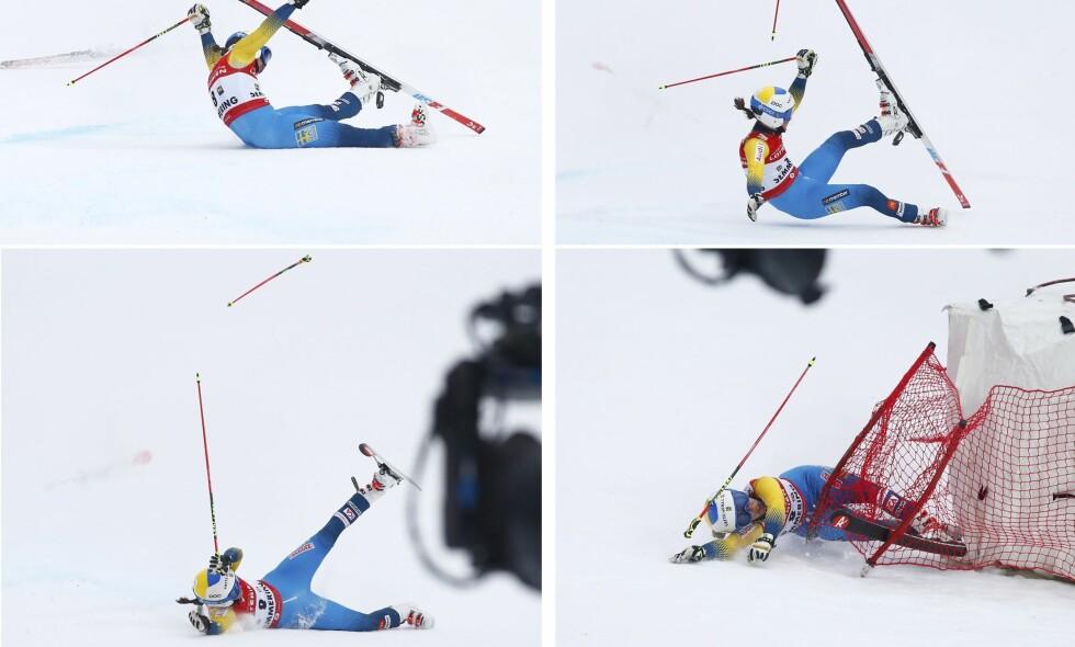 SKADET SEG: Maria Pietilä Holmnér fikk et delvis avrevet leddbånd etter dette stygge fallet i dag. Foto: AP / Giovanni Auletta / NTB Scanpix