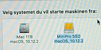 <strong>VELG DISK:</strong> Klikk på den nye SSD-en, så starter iMac-en fra denne nese gang. (Foto: Tore Neset)&nbsp;