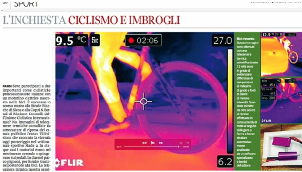 NYE AVSLØRINGER? En av skaperne bak sykkelmotorer hevder flere avsløringer om mekanisk doping er på vei. Her et bilde fra etterforskningen til den italienske avisen Corriere della Sera tidligere i år. (foto: Faksimile, Corriere della Sera)