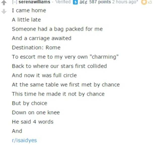 DIKT: Serena Williams la ut dette diktet på sin offisielle Reddit-profil. Skjermdump fra Reddit.