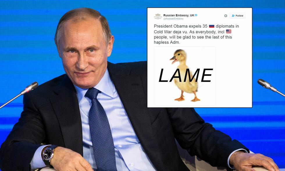 «LAME DUCK»: På Twitter la Russlands ambassade i Storbritannia ut følgende beskjed i kveld, etter at USA varslet ytterligere sanksjoner mot Russland. Skjermdump