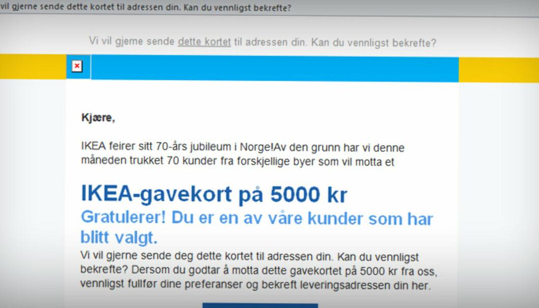 <strong>NEI, DU KAN IKKE VINNE:</strong> Mottar du denne e-posten, er det bare å slette den med en gang. Foto: Skjermdump Ikea.
