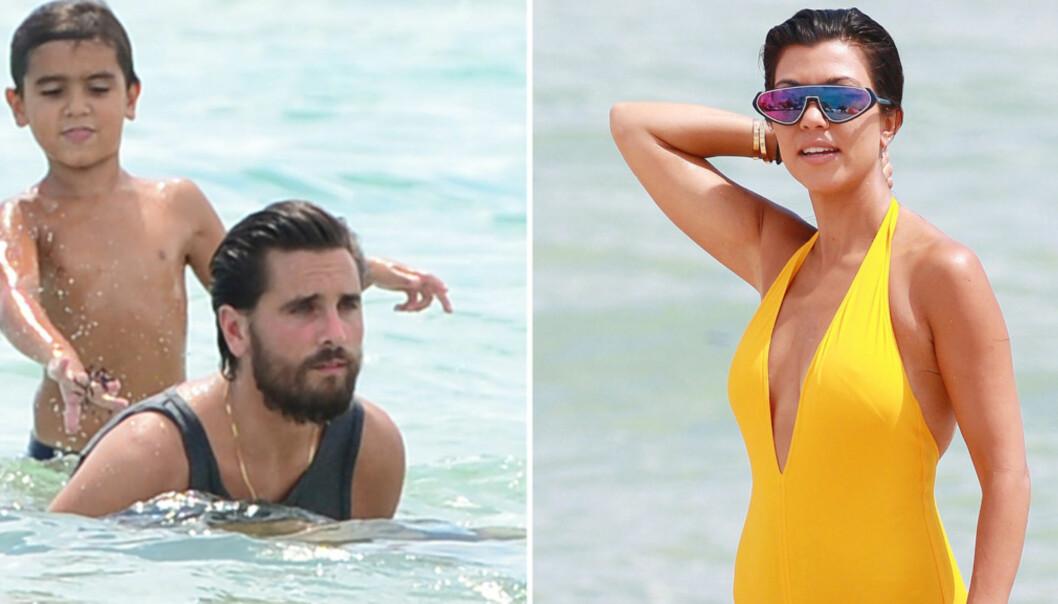 <strong>FAMILIEIDYLL FOR EN DAG:</strong> Kourtney Kardashian og Scott Disick holdt en vennlig maske for sønnen Mason og deres to andre barn på stranden i Miami. Foto: Scanpix