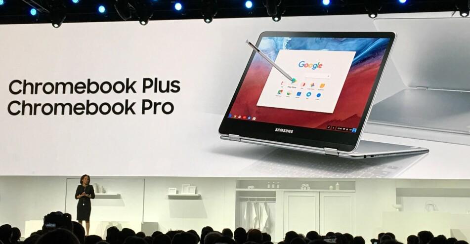 <strong>GIR MENING:</strong> Chromebooks med berøringsskjerm gjør at du kan bruke Android-apper slik de var ment. Dinside var til stede da Samsungs USA-sjef Alanna Cotton presenterte nyhetene. Foto: Bjørn Eirik Loftås