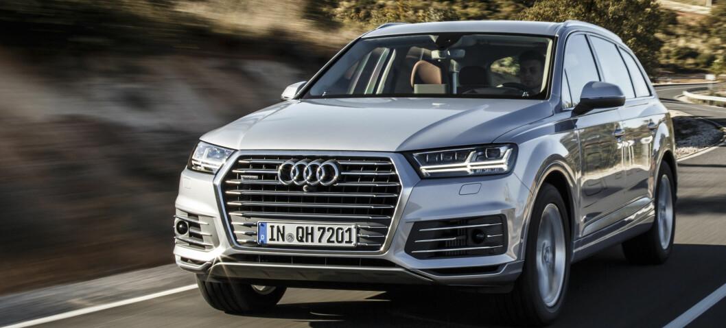 <strong><b>LADBAR BAMSE:</strong></b> Audi lover sensasjonelt lave utslipp på store Q7. Audi er en av svært få som velger diesel i kombinasjon hybrid. Vi har endelig fått testet e-tron-versjonen. Foto: AUDI