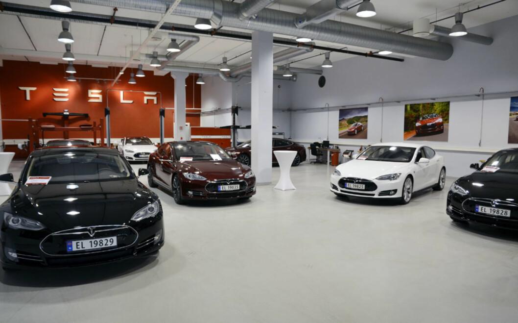 Her står bilene klare til levering. Totalt 13 stykk skal ut til kunder i dag. Foto: Stein Inge Stølen