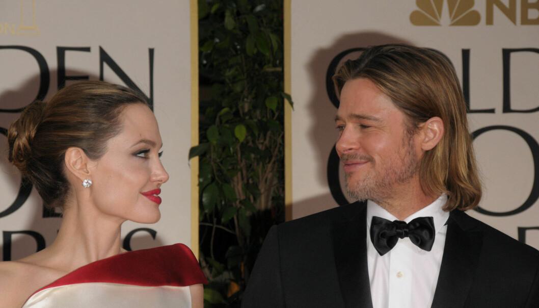 <strong>GODE TIDER:</strong> I år kom Brad Pitt alene på Golden Globe. I 2012 strålte han imidlertid på prisutdelingen sammen med Angelina Jolie. Foto: NTB Scanpix&nbsp;