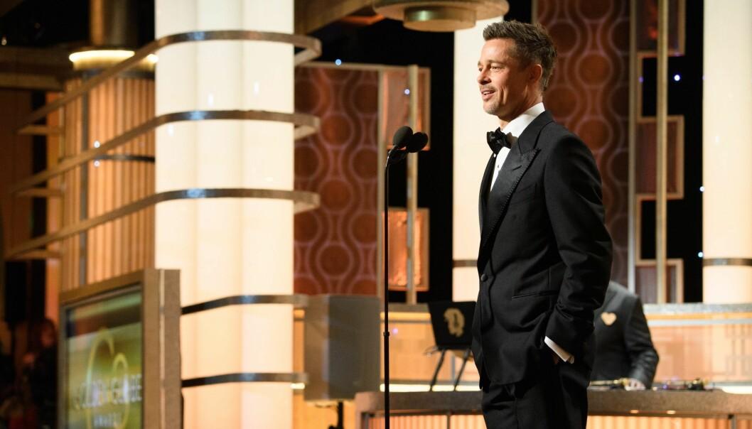 <strong>KJEKKAS:</strong> Brad Pitt så relativt avslappet ut da han gjorde sin første prisutdeling-opptreden siden det mye omtalte bruddet med Angelina Jolie. Foto: Hollywood Foreign Press Association / EPA / NTB Scanpix