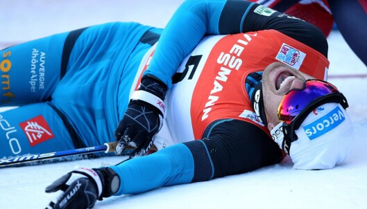 KLATREKONGEN: Ingen klatret raskere enn Maurice Manificat i monsterbakken i Tour de Ski. Foto: NTB Scanpix