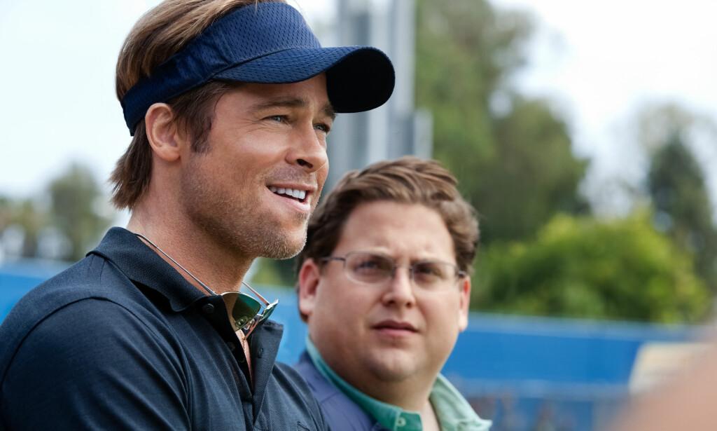 «MONEYBALL»-STJERNER: Brad Pitt og Jonah Hill spiller to av hovedrollene i storfilmen «Moneyball», som ble Chris Pratts gjennombrudd. Foto: Scanpix