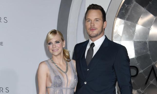 LYKKELIG GIFT: Privat har Chris Pratt vært gift med «Scary Movie»-stjernen Anna Faris siden 2009. Foto: Scanpix