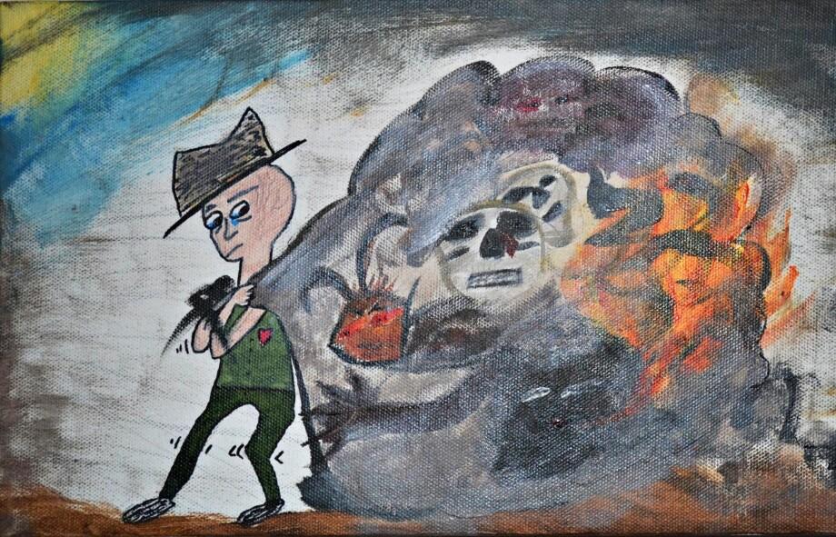 DEMONENE: «All The Demons That I Carry» er tittelen på dette bildet, som Nora Graff Kleven sjøl malte i 2012.