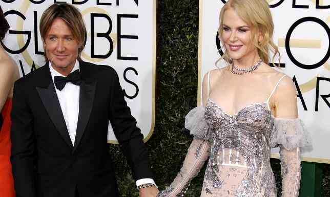 PÅ RØD LØPER: Nicole Kidman hadde med seg ektemannen Keith Urban på årets Golden Globe-utdeling. Foto: Scanpix