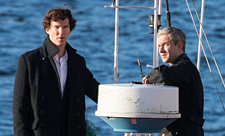 Mandatory Credit: Photo by Polly Thomas/REX/Shutterstock (5768631g) Benedict Cumberbatch and Martin Freeman filming on a boat, Cardiff Bay Barrage 'Sherlock' TV show on set filming, Cardiff, Wales, UK - 13 Jul 2016