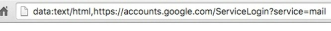 <strong>IKKE EKTE:</strong> Adressefeltet begynner her med data:text/html, og er da ikke den legitime innloggingssiden fra Google. Skjermbilde: Wordfence.com