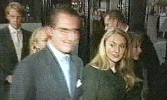 KJÆRESTER: Kronprins Guillaume og Pia Haraldsen, her fanget opp av TV 2s kameraer på begynnelsen av 2000-tallet. Foto: TV 2 / NTB Scanpix