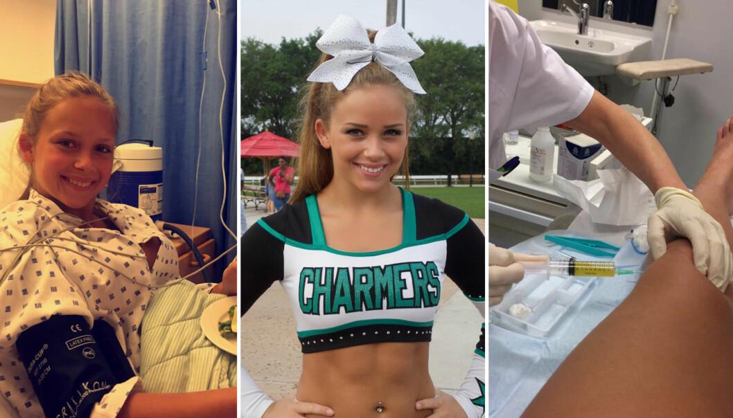OPP OG NED: Etter at hun fikk diagnosen oligoartikulær barneleddgikt som tiåring, har Charlotte Fossum hatt flere friskmeldinger - og tilbakefall. Cheerleading og fekting i «Anno» har hun uansett tatt på strak arm. Foto: Privat
