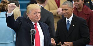 image: Trumps første ord: - Dagens seremoni er spesiell, vi skal ikke gi makta fra en person til en annen, eller fra parti til parti