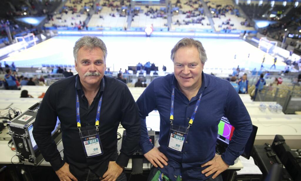 TV 2s DUO: TV 2s kommentatorpar Harald Bredeli (tv) og Bent Svele er på plass i EM - der konkurrenten Viasat har rettighetene. Foto: Vidar Ruud / NTB scanpix