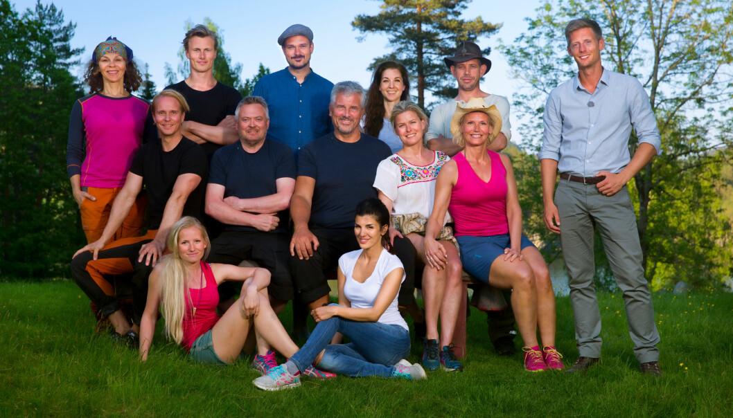 <strong>KLARE FOR KAMP:</strong> Her  er deltakerne i kjendisversjonen  av «Farmen». (F.v.): Lotto-vertinne  Ingeborg Myhre Ludlow (41),  realitykjendis Leif-Einar «Lothepus»  Lothe (46), «Skal vi danse»-dommer  Tore Petterson (37), blogger Tonje  Blomseth (22), svømmer Lavrans Solli  (24), TV-baker og kokebokforfatter Ida  Gran-Jansen (28), pokerspiller Aylar Lie  (32), skuespiller Jarl Goli (59), modell  og programleder Vendela Kirsebom  (49), realitykjendis Petter Pilgaard  (36), trimdronning Kari Jaquesson (54)  og TV-kokk Lars Barmen (53). Helt til  høyre programleder Gaute Grøtta Grav. Foto: Tor Lindseth, Se og Hør.