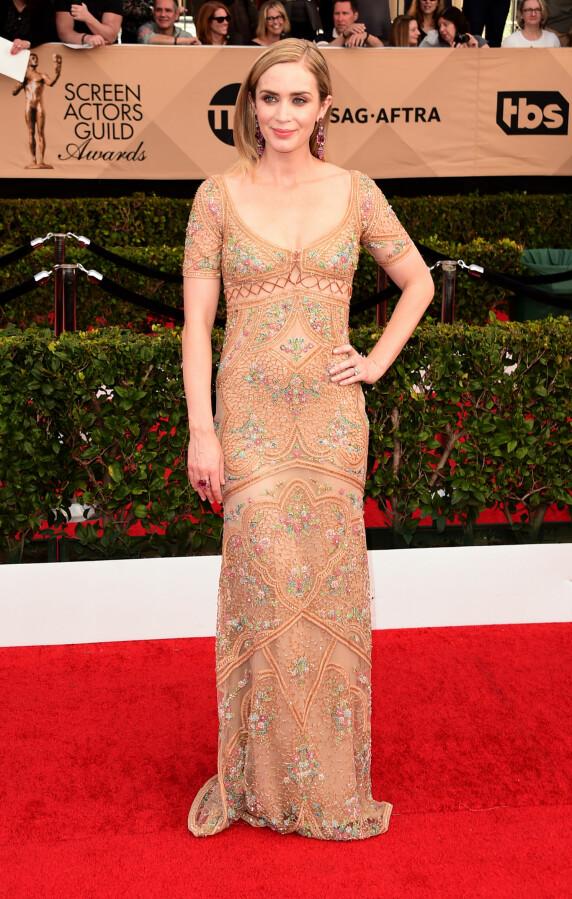 <strong>HUDFARGET:</strong> Emily Blunt glitret i denne kreasjonen fra Roberto Cavalli. Foto: Splash News / NTB scanpix