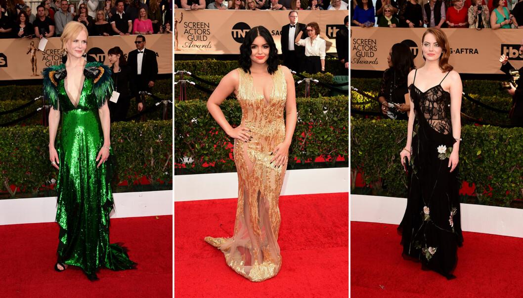 <strong>VEKKET OPPSIKT:</strong> Nicole Kidman, Ariel Winter og Emma Stone var blant Hollywood-stjernene som fikk mest oppmerksomhet på SAG Awards-løperen natt til mandag norsk tid. Foto: NTB scanpix