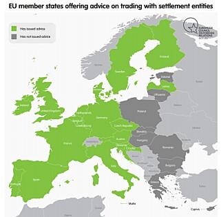 ADVARER: 18 europeiske land som klart advarer mot aktiviteter som kan støtte ulovlige israelske bosetninger. Foto: Danwatch