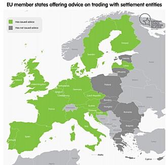 <strong>ADVARER:</strong> 18 europeiske land som klart advarer mot aktiviteter som kan støtte ulovlige israelske bosetninger. Foto: Danwatch