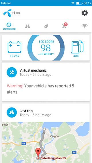NY APP: Slik illustrer Telenor at telefon-appen med bildata vil se ut. Foto: Telenor