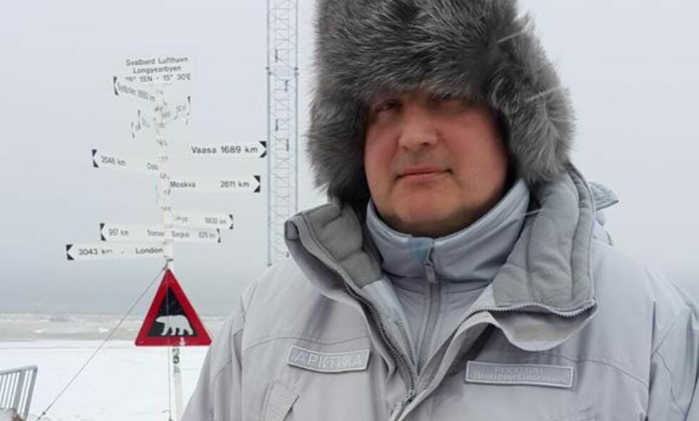UØNSKET: Russlands tidligere visestatsminister, Dmitri Rogozin, besøkte Svalbard i 2015, selv om han sto på Norges og EUs sanksjonsliste. Foto: Skjermdump / Twitter / Dmitry Rogozin