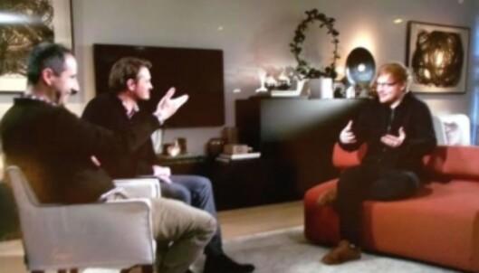 JOVIAL STJERNE: Den britiske popstjernen Ed Sheeran er også gjest hos Thomas og Harald i morgen, fredag 3. februar.