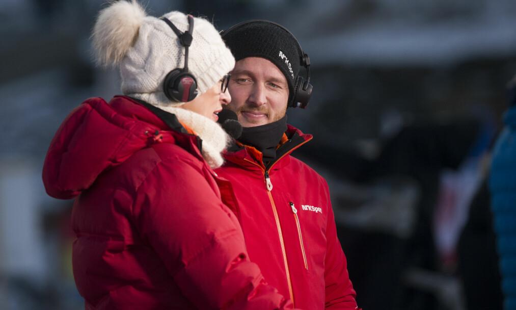 NRK-EKSPERT: Johan Remen Evensen i samtale med Karen-Marie Ellefsen. Foto: Terje Bendiksby / NTB Scanpix