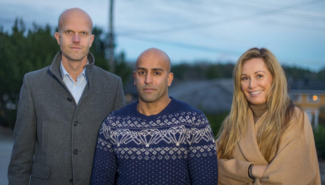 <strong>FIKK HJELP:</strong> Ekspertene Hallgeir Kvadsheim og Cecilie Lynum hjelper denne uken Azfar Majhoti i «Luksusfellen». Foto: TV 3
