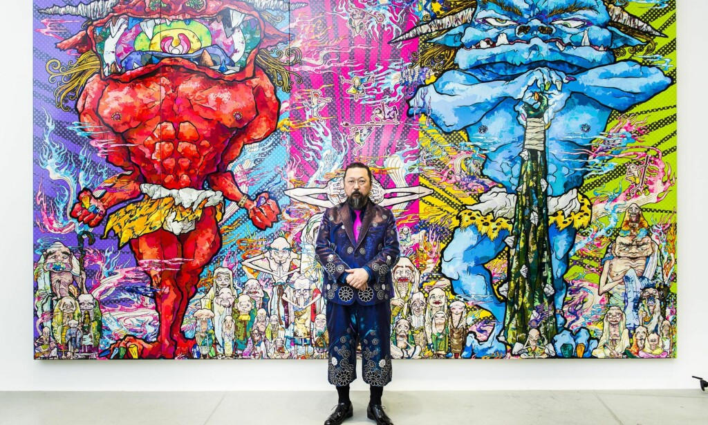 FARGERIKE DEMONER: Takashi Murakami foran «Red Demon and Blue Demon with 48 Arhats». Foto: LARS EIVIND BONES