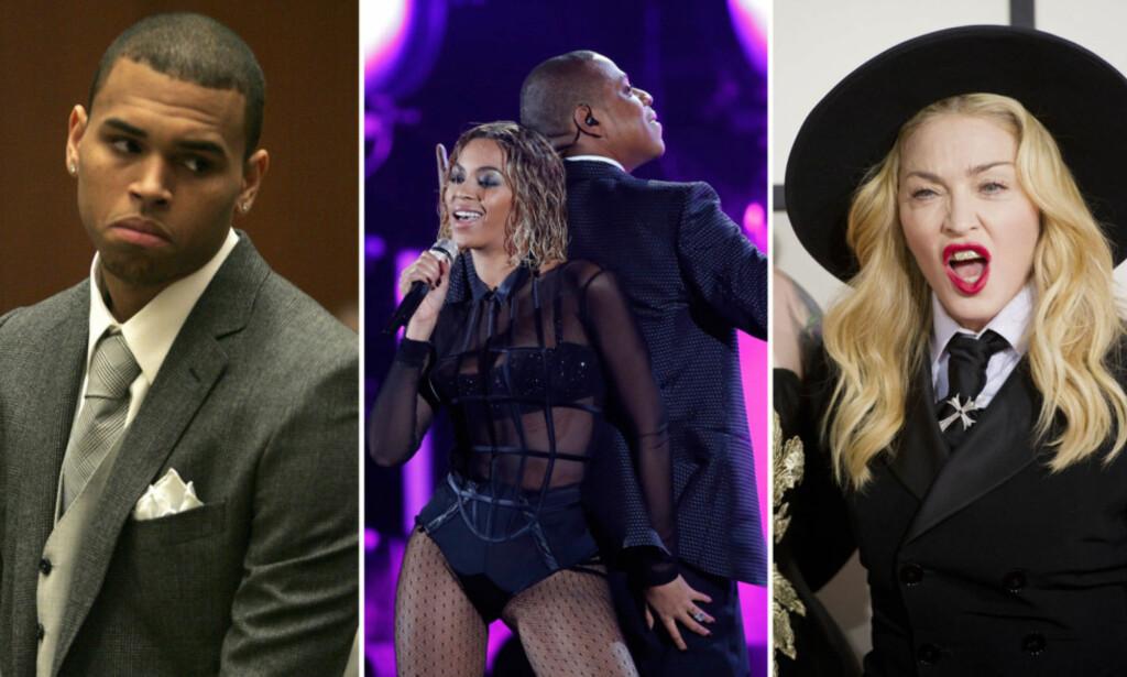 OVERRASKET: Chris Brown, Beyonce og Jay Z og Madonna har alle til felles at de har klart å skape overskrifter i forbindelse med musikkprisutdelingen Grammy Awards. Foto: NTB scanpix