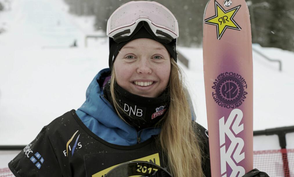 <strong>SEIRET:</strong> Fristilkjøreren Johanne Killi fra Dombås tok sin første verdenscupseier i karrieren da hun vant rennet i slopestyle i Canada søndag. Foto: Norges Skiforbund / NTB scanpix
