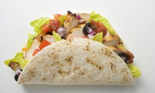 RIKTIG INNPAKNING: Selvfølgelig betyr fyllet mye, men er lefsa dårlig blir tacoen dårlig. Her taco med kylling. foto: DABLADET