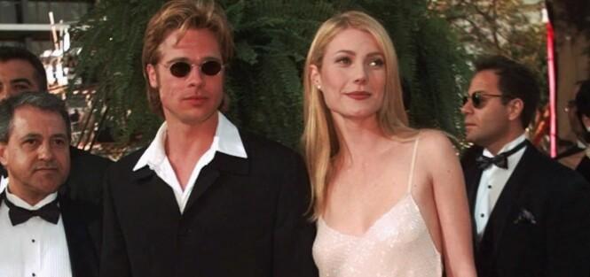 TØFF TYPE: I 1996 dukket Brad Pitt opp på selveste Oscar-løperen iført små, runde solbriller - og med sin daværende kjæreste, Gwyneth Paltrow, ved sin side. Foto: AP/ NTB scanpix