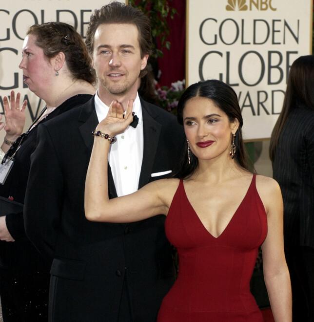 EKSER: Salma Hayek og Edward Norton kom sammen på Golden Globe i januar 2003. Foto: Mark J. Terrill/ AP/ NTB scanpix