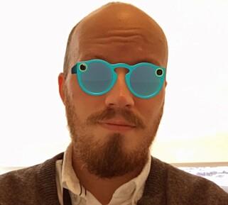 PRØVEROM: Snapchat tilbyr deg å prøve brillene først – som et filter i appen. Foto: Skjermdump