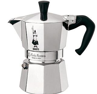 Bialettis kaffebrygger har vært på markedet i mange år. Visstnok har 9 av 10 italienere en slik i kjøkkenskapet. Foto: Produsenten