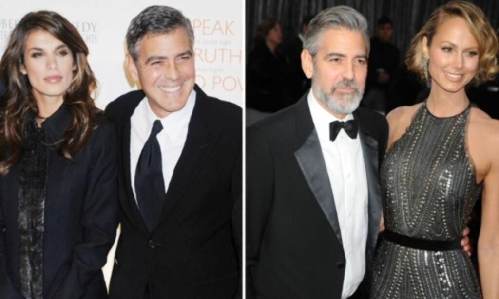 EKS-KJÆRESTER: Fra 2009 til 2011 var Clooney sammen med den italienske skuespilleren Elisabetta Canalis. En måned etter bruddet innledet han et forhold til den tidligere wrestleren Stacy Keibler. To år senere ble det slutt mellom dem også. Foto: NTB Scanpix